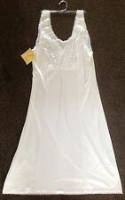 "New White Lace Slip UK 12 Knee Length 39"" wide straps & lace to bust underskirt"