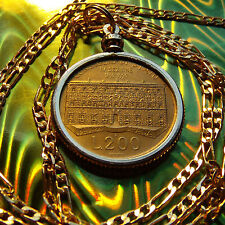 """Classic Italy-200 Lire Golden Brass Coin Pendant & 30"""" Gold Plated Figaro Chain"""