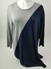 Chicos Womens Sweater Size 3 Gray Navy Lightweight NWT