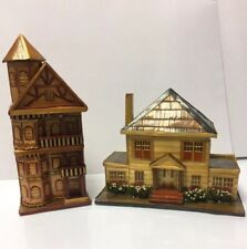 VINTAGE Balsa Wood Straw Houses Lightweight Trinket Box Ornament Set Of 2