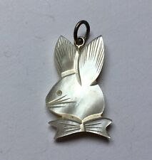Sterling Silver 925 Mother Of Pearl Carved Bunny Rabbit Pendant Necklace Charm I