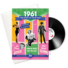 57th BIRTHDAY or ANNIVERSARY -1961 4-In-1 Card,Book,CD and Download