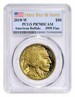 2019 W 1 oz Gold American Eagle Proof $50 PCGS PR70 FS Flag Label SKU56189