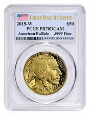 2019 W 1oz American Gold Buffalo Pf $50 Pcgs Pr70 Dcam Fdi Flag Label Sku57815