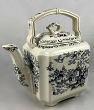 Antique Ashworth Brothers Hanley Oriental Teapot Blue Square Masons Ironstone