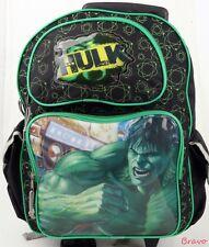 "Marvel Hero Incredable Hulk Large Rolling Backpack 16"" > wheels back pak - Green"