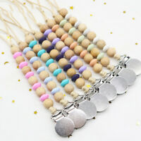 Wooden Beads Pacifier Clip Baby Dummy Nipple Chain Teething Toy Soother BPA Free