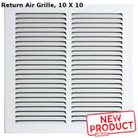 10 x 10 Air Return Vent Cover Grille Duct Size White Steel Sidewall Ceiling Wall