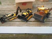 3 TONKA Construction Toys Dump Truck Bulldozer Backhoe