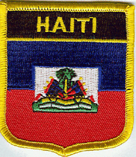 """HAITI SHIELD FLAG EMBROIDERED PATCH -- IRON-ON -- NEW 2.5"""" x 2.75"""""""