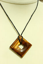 TIGER'S EYE Polished SQUARE Healing REIKI PENDANT NECKLACE Black Cord