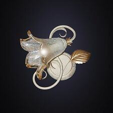 PLAFONIERA applique BIANCO SHABBY oro FERRO BATTUTO 1L murano camera da letto