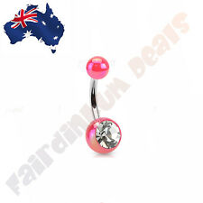 316L Surgical Steel Pink Metallic Coated Acrylic Ball with Gem Stone Belly Ring