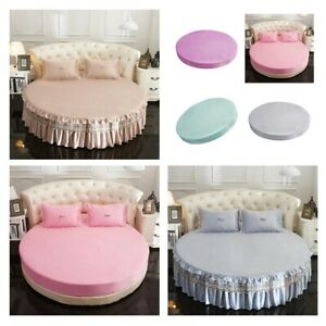 Fitted Satin Silk Round Bed Sheet Bedspread with Skirts for Queen King Size Bed