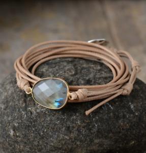 Natural Gemstone Labradorite Cord Stacking Wrap Bracelet Stacks Vegan Stone