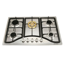 """30"""" Cooktops 5 Burners Built-in NG/LPG Gas Hob Gold Stainless Steel Cook Tops,US"""