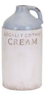 "12.5"" Terracotta Cream Jug Country Farmhouse Style Blue & White Weathered Finish"