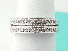 Estate Double Row 18k White Gold Signed.0.18 Carrat Diamond Ring Size 5 Women's