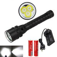 10000LM 3x XML T6 LED Waterproof Diving Scuba Flashlight Torch Lamp 18650//26650