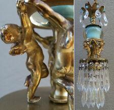 Dansing gilt winged cherubs swag lamp  crystal double layer Rainbow shine vintag