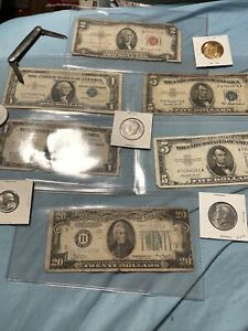 $20 1934 1$ 2$ 5$ Bills Lots with/3 Coins And More