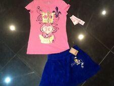 NWT Juicy Couture & Genuino Terciopelo Falda & Camiseta Algodón Set Niña 8 años