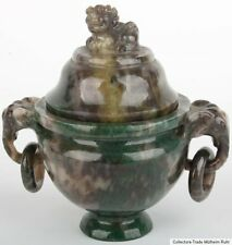 China 20. Jh. Censer A Small Chinese Hardstone / Moss Agate Koro Cinese Chinoise