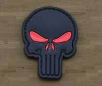 """PVC / Rubber Patch """"Black Skull Red Eyes"""" Punisher with VELCRO® brand hook"""