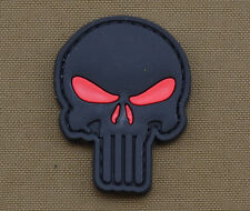"""PVC / Rubber Patch """"Black Punisher Red Eyes"""" with VELCRO® brand hook"""