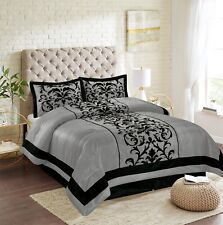 New Empire Home Grey Donna Damask 4-Piece Comforter Set Bed In A Bag Sale!