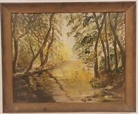 "Vintage Oil Painting on Canvas Forest Scene Signed Framed Art  (28"" x 34"")"