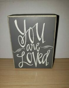 """You Are Loved"" Inspirational Gray And White Wooden Sign Cute Room Decor (5p0g)"