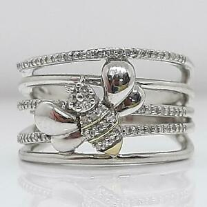 Genuine .42ctw H-SI Diamond Solid 10K Yellow Gold 925 Silver Bee Ring Size 6.75