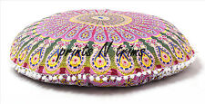 "Indian Ottoman Large Floor Pillows Mandala Tapestry Round Cushion Cover 32"" Art"