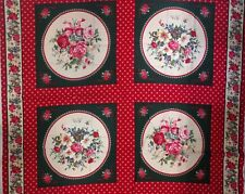 ROSE BOUQUET CUSHION PANEL - Makes 2 - with Border Print - 100% Cotton