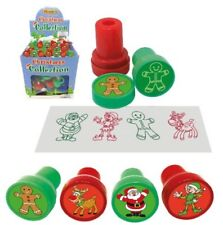 6 Christmas Ink Stamps - Stocking Toy Loot/Party Bag Fillers Childrens/Kids