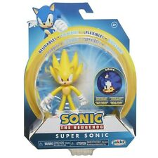 "Sonic The Hedgehog Collectible Super Sonic 4"" Bendable Action Figure w/ Disk"
