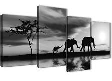 Black White African Sunset Elephants Canvas Print - 4 Piece - 130cm Wide - 4363