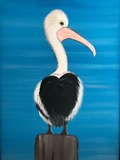 Acrylic painting original art, pelican, framed and ready to hang