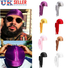 Men Women Cap Wrap Satin Long Tail Silk Durag Headwear Pirate Bandana Turban Hat