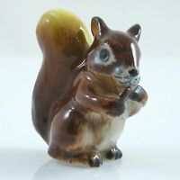 "Ceramic Squirrel Figurine Brown Handpainted approx 1.5"" tall looks to right"