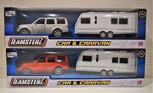 TEAMSTERZ Jouet Miniature 4 x 4 Land Rover Discovery Rouge Ou Argent + Caravane