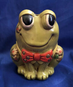Porcelain Whimsical Frog Toothbrush Holder Red Bow Tie Florals Cuteness Overload