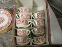 9 CUPS & SAUCER SET RED MEMORY LANE ROYAL IRONSTONE