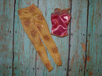 Mattel Barbie Doll Clothing Lot FASHIONISTAS FASHION FEVER Gold & Pink Top Pants