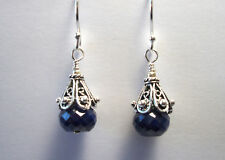 SALE   9cts Faceted Blue Sapphire 925 Sterling Silver Earrings