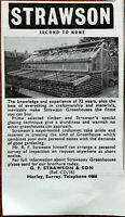 G. W. Strawson & Son. Greenhouses Vintage Advertisement 1964