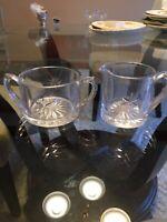 Vintage / Antique Sugar Bowl Creamer Etched Star Burst Great Set
