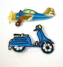 VESPA SCOOTER  & AEROPLANE  Embroidered Iron Sew On Cloth Patch Badge APPLIQUE