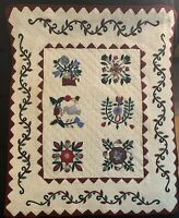 Sweet Quilt Wall Hanging Hand Stiched Red Folk Style Design Hand Sewn